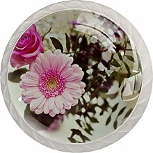 Glass Cabinet Knobs Pink Noble Flowers with 3D