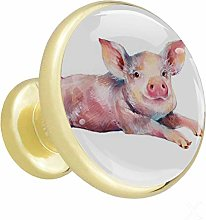 Glass Cabinet Knobs Pink Pig with 3D Visual