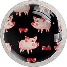 Glass Cabinet Knobs Pink Piglets Bows with 3D