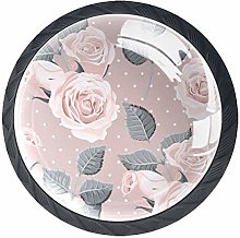 Glass Cabinet Knobs Pink Rose with 3D Visual