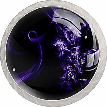 Glass Cabinet Knobs Purple Abstract Art with 3D
