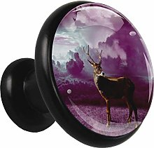 Glass Cabinet Knobs Purple Cloud Deer with 3D