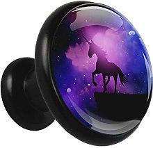 Glass Cabinet Knobs Purple Galaxy Unicorn with 3D