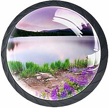 Glass Cabinet Knobs Purple with 3D Visual Effects