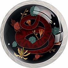 Glass Cabinet Knobs Red Snake with 3D Visual