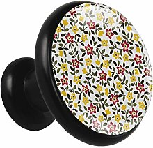 Glass Cabinet Knobs Red Yellow Flower with 3D