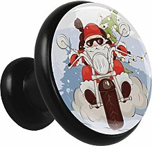 Glass Cabinet Knobs Santa Claus Motorcycle with 3D