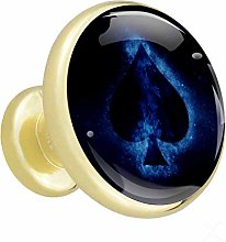 Glass Cabinet Knobs Spades Blue with 3D Visual