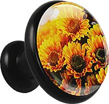 Glass Cabinet Knobs Sunflower with 3D Visual