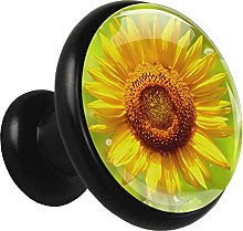 Glass Cabinet Knobs Sunflowers Yellow Plant with