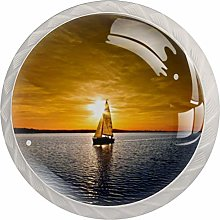 Glass Cabinet Knobs Sunset Sailboat with 3D Visual