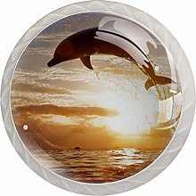 Glass Cabinet Knobs Sunset Sea Dolphin with 3D