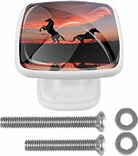 Glass Cabinet Knobs Sunset Shadow Horse with 3D
