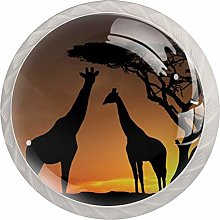 Glass Cabinet Knobs Sunset Tree Giraffe with 3D