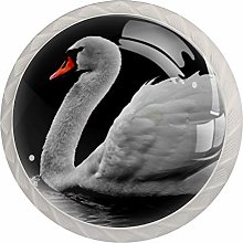 Glass Cabinet Knobs Swans Water with 3D Visual