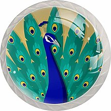 Glass Cabinet Knobs Turquoise Peacock Feather with