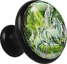 Glass Cabinet Knobs Unicorn Fancy Green with 3D