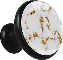 Glass Cabinet Knobs White Golden Marble Texture