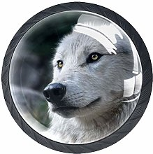 Glass Cabinet Knobs White Wolf with 3D Visual