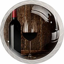 Glass Cabinet Knobs Wine Glass with 3D Visual