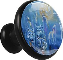 Glass Cabinet Knobs Wolf Painting with 3D Visual