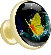 Glass Cabinet Knobs Yellow Butterfly with 3D