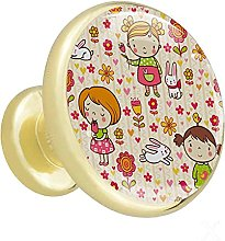 Glass Cabinet Knobs Yellow Cute Girl with 3D