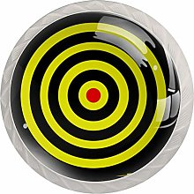 Glass Cabinet Knobs Yellow Dart Target with 3D