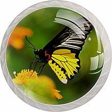 Glass Cabinet Knobs Yellow Flowers Butterflies