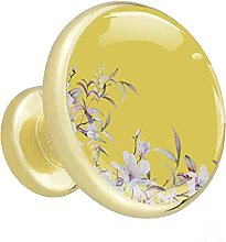 Glass Cabinet Knobs Yellow Pink Leaf with 3D