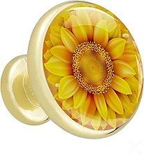 Glass Cabinet Knobs Yellow Sunflower Abstract with