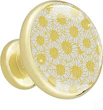 Glass Cabinet Knobs Yellow White Flowers with 3D