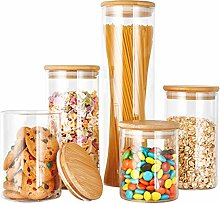 Glass Canister Set with Bamboo Lid, Glass Food