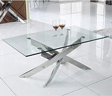 Glass Coffee Table with Chrome Base - Vida Living