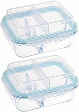 Glass Container, Double Layer Food Storage