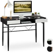 Glass Desk, Cable Hatch, Office Table With