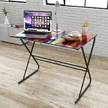 Glass Desk with Rainbow Pattern - Brown