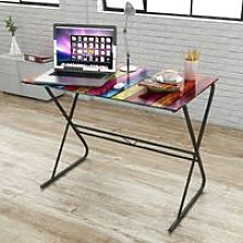 Glass Desk with Rainbow Pattern VD09177