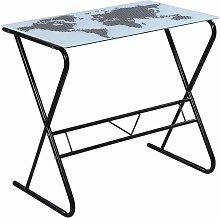 Glass Desk with World Map Pattern QAH09176