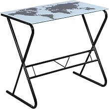 Glass Desk with World Map Pattern - White
