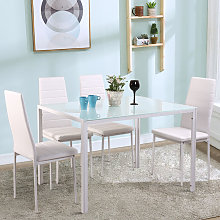 Glass Dining Table and Set of 4 Faux Leather