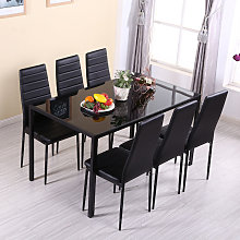 Glass Dining Table and Set of 6 Faux Leather