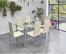 Glass Dining Table Set with 6 Chairs in Cream