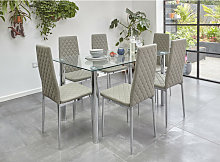 Glass Dining Table Set with 6 Chairs in Grey