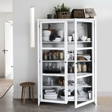 Glass Display Cabinet, White Grey, One Size