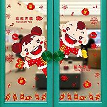 Glass Door Stickers Creative Cartoon Stickers