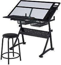 Glass Drafting Table Adjustable Tilting Drawing