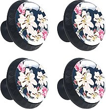 Glass Drawer Knobs - 4 Pcs 35MM Lily Rose Flowers