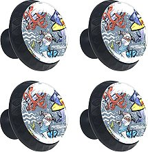 Glass Drawer Knobs - 4 Pcs 35MM Surfing Sea Shark
