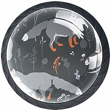 Glass Dresser Knobs Cartoon Gray Wolf Color Multi